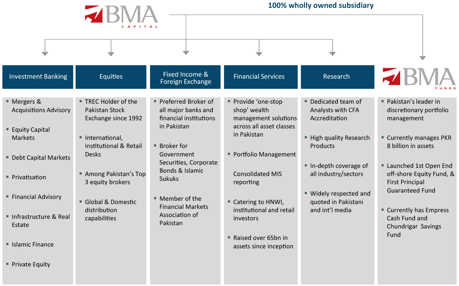 BMA business activities at glance